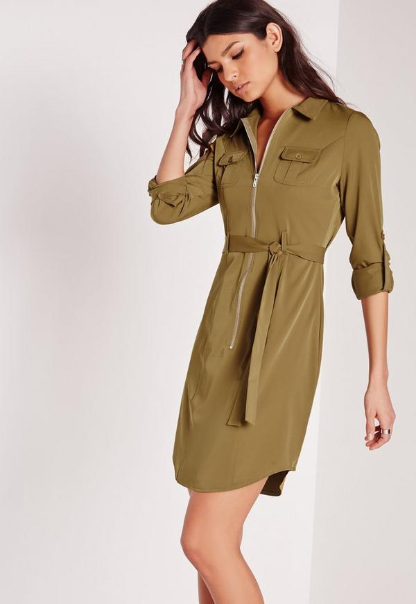 Tall exclusive zip through mini shirt dress khaki missguided for Zip up dress shirt