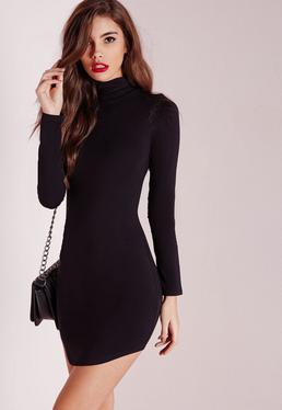 Tall Curve Hem Roll Neck Bodycon Dress Black