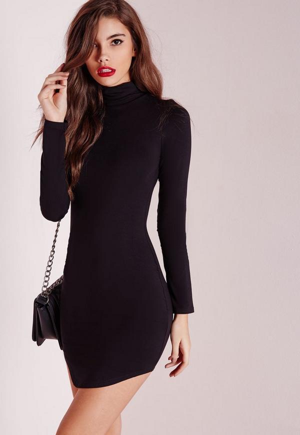 Tall Curve Hem Roll Neck Bodycon Dress Black