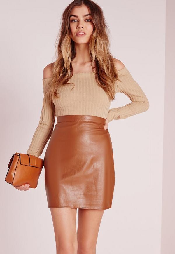 mini jupe en simili cuir marron tall missguided. Black Bedroom Furniture Sets. Home Design Ideas