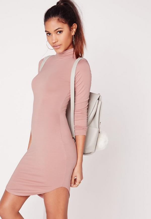 Tall Curve Hem Roll Neck Bodycon Dress Pink