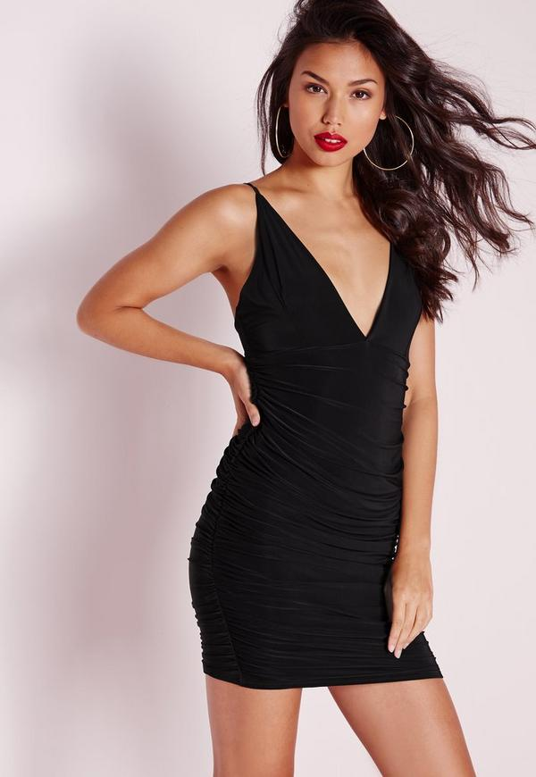 Tall Slinky Double Strap Ruche Bodycon Dress Black