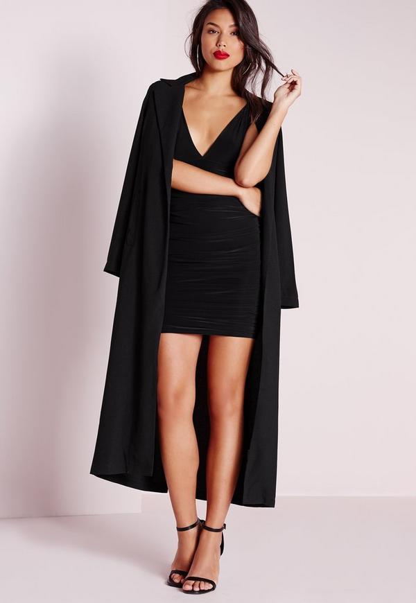 robe fluide moulante noire tall double bretelles missguided. Black Bedroom Furniture Sets. Home Design Ideas