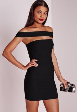 Tall Cut Out Panel Bardot Bodycon Dress Black