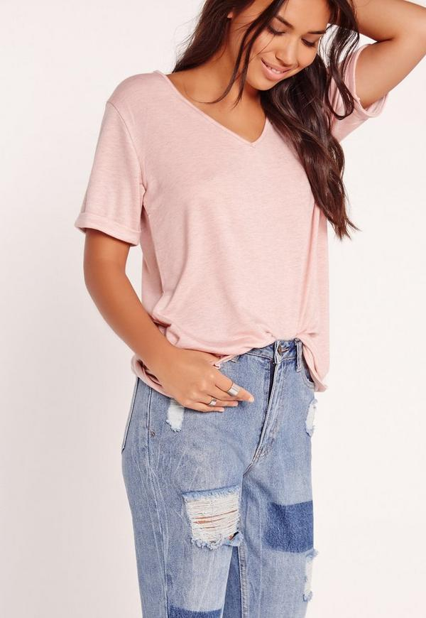 Tall Exclusive Boyfriend V-Neck T-Shirt Pink