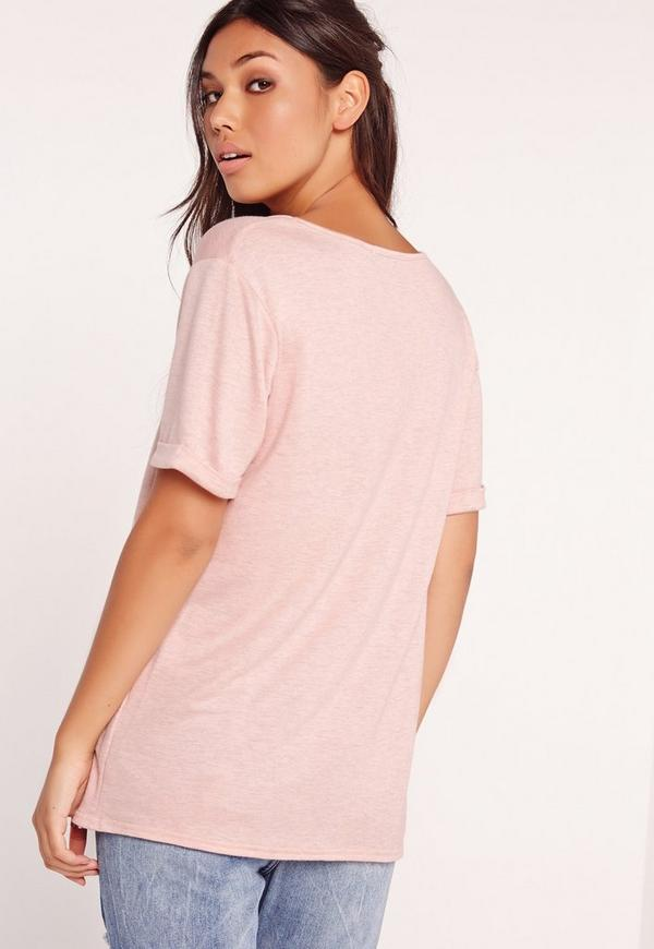 Tall exclusive boyfriend v neck t shirt pink missguided for Tall v neck t shirts