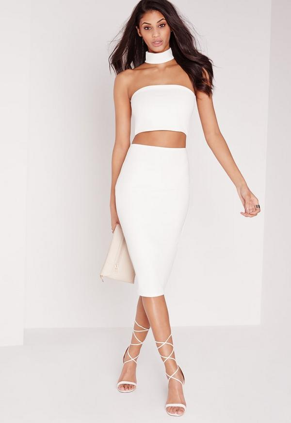 tall choker midi dress white