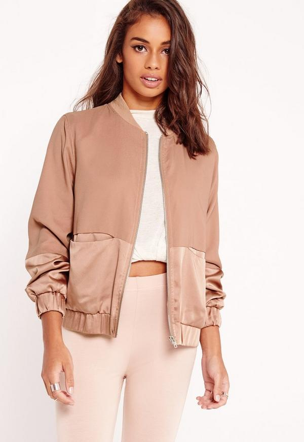 Tall Satin Two Tone Bomber Jacket Camel | Missguided