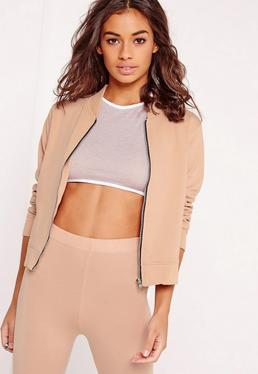 Tall Exclusive Jersey Bomber Jacket Nude