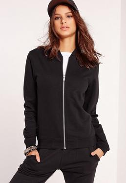 Tall Exclusive Jersey Bomber Jacket Black