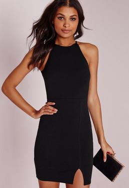 Tall 90's Neck Mini Dress Black