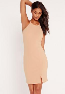 Robe courte nude Tall col montant style 90s