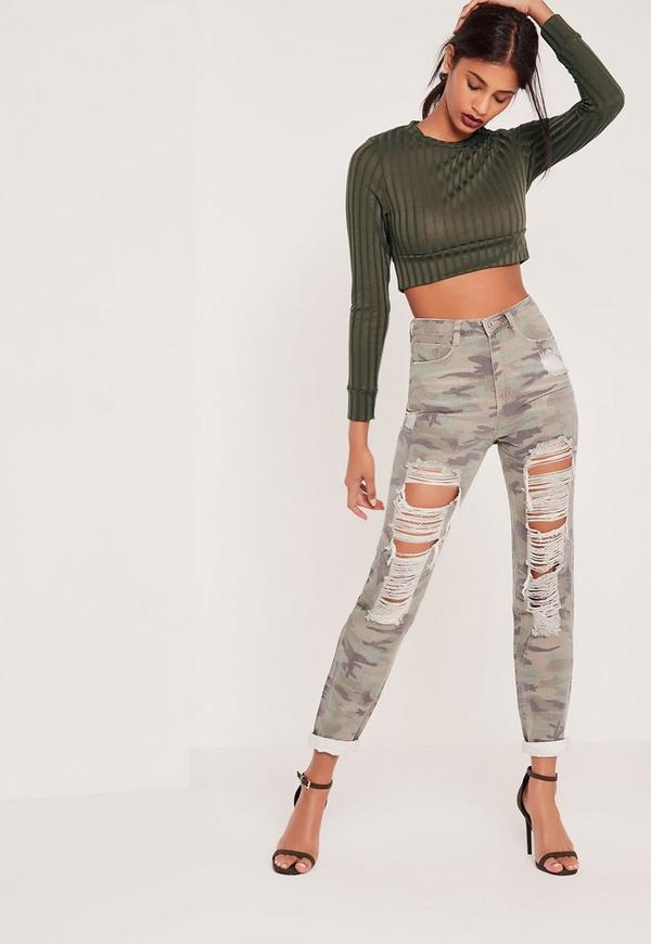 Tall Riot High Rise Ripped Camo Jeans Khaki