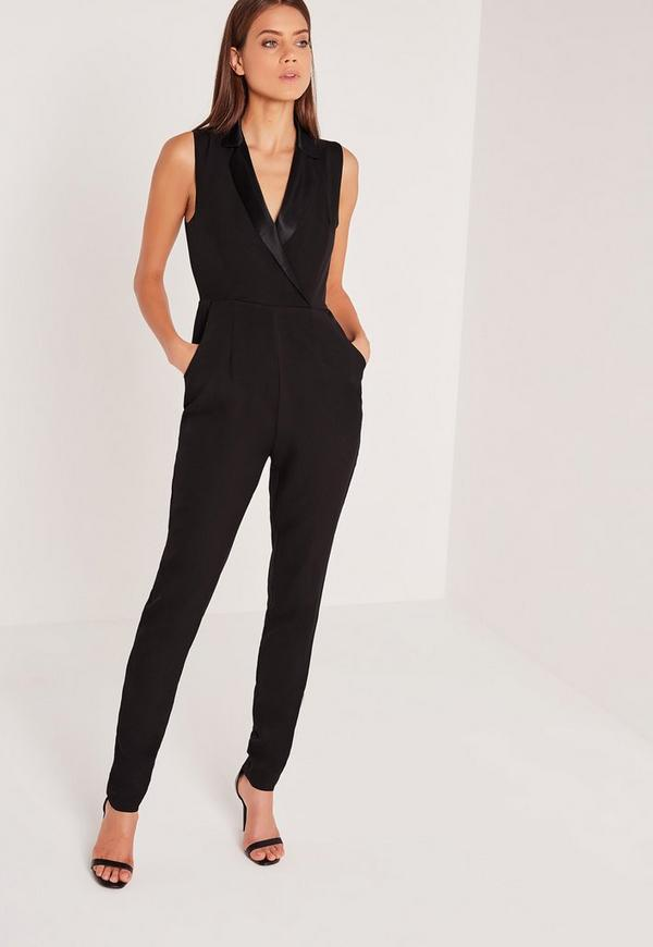 Tall Exclusive Tux Detail Jumpsuit Black