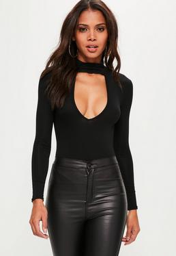 Tall Choker Neck Plunge Bodysuit Black