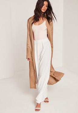 Tall Satin Two Tone Bomber Duster Coat Camel