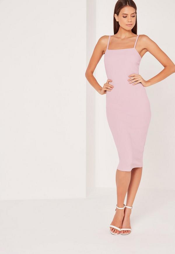Tall Exclusive Square Neck Midi Dress Mauve