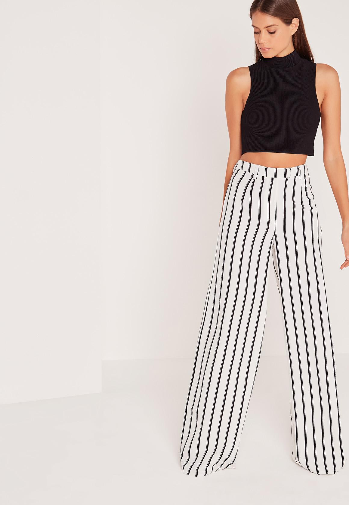 Tall Exclusive Striped Wide Leg Pants White | Missguided
