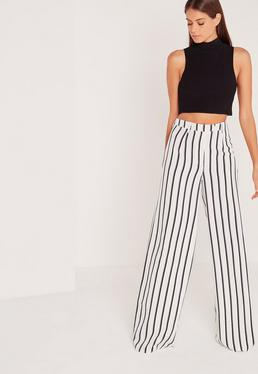 Tall Exclusive Striped Wide Leg Trousers White