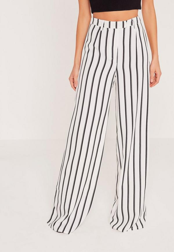 Tall Exclusive Striped Wide Leg Trousers White - Missguided