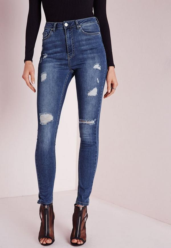 Tall Sinner High Waisted Ripped Skinny Jeans Vintage Blue - Missguided