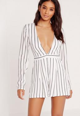 Tall Exclusive Stripe Plunge Playsuit White