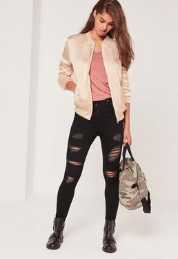 Tall Exclusive Satin Bomber Jacket Nude
