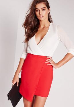 Tall Scuba Wrap Asymmetric Mini Skirt Red