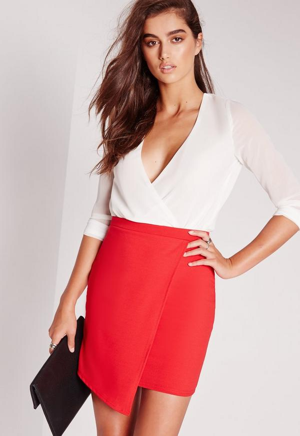 Tall Scuba Wrap Asymmetric Mini Skirt Red