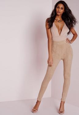 Pantalon moulant taille haute en faux daim beigeTall