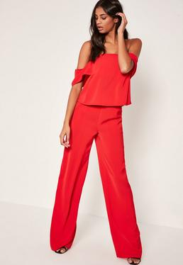 Tall Exclusive Wide Leg Trousers Red