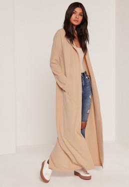 Tall Exclusive Nude Crepe Longline Duster Jacket