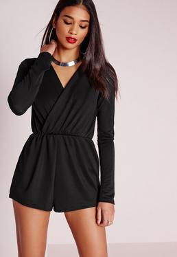Tall Wrap Front Crepe Romper Black