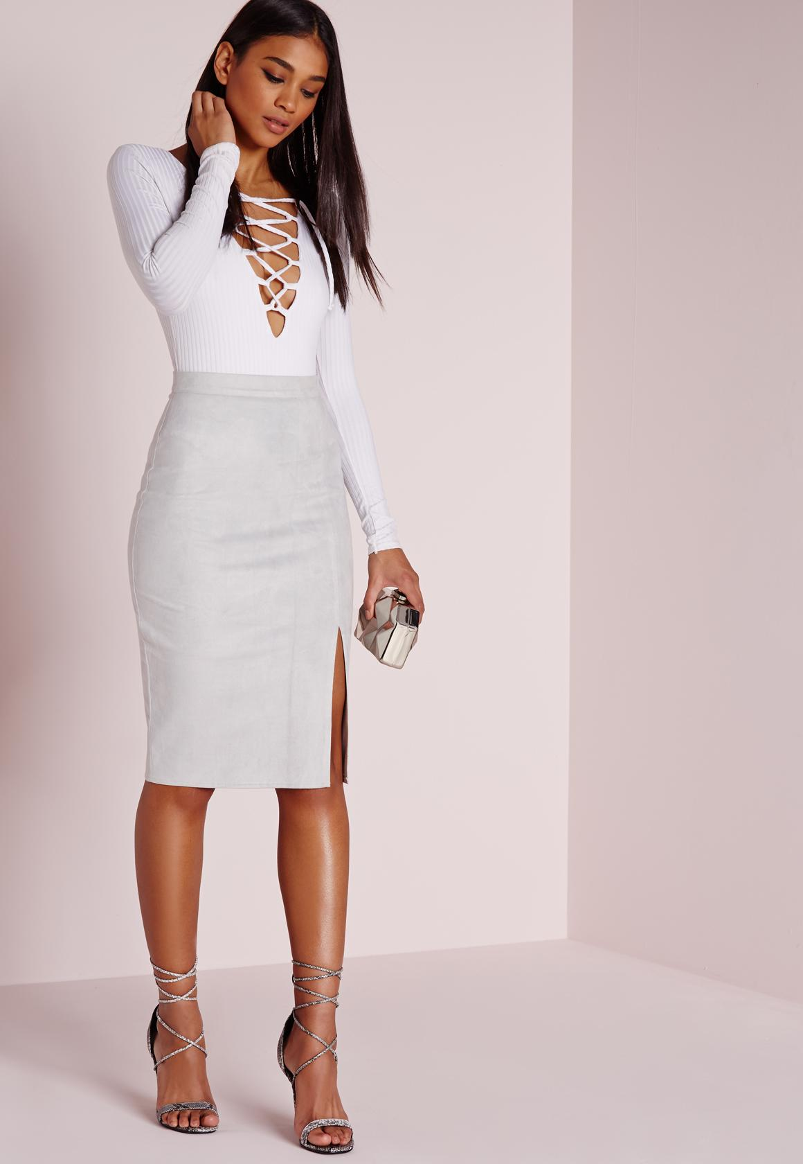Tall Thigh Split Faux Suede Midi Skirt Grey | Missguided