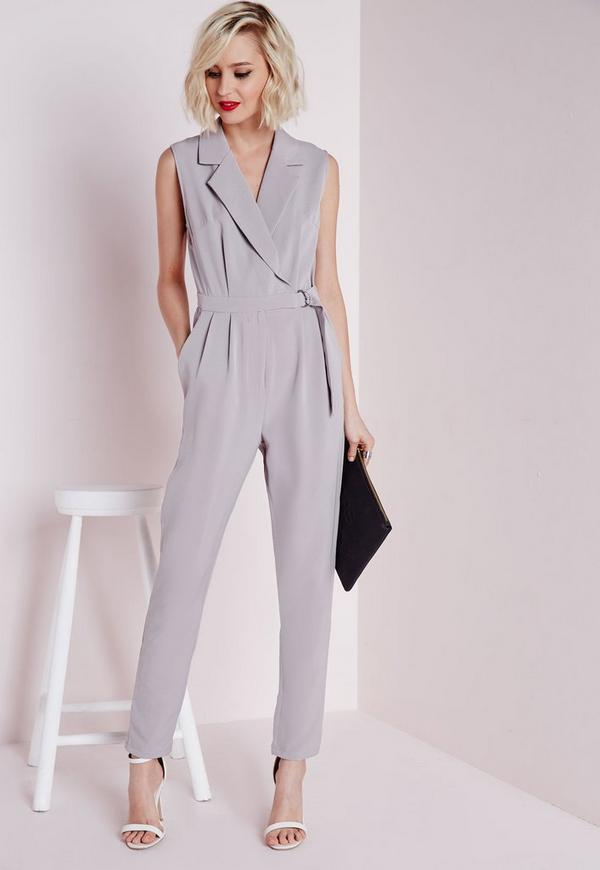 Tall Sleeveless D-Ring Wrap Jumpsuit Grey