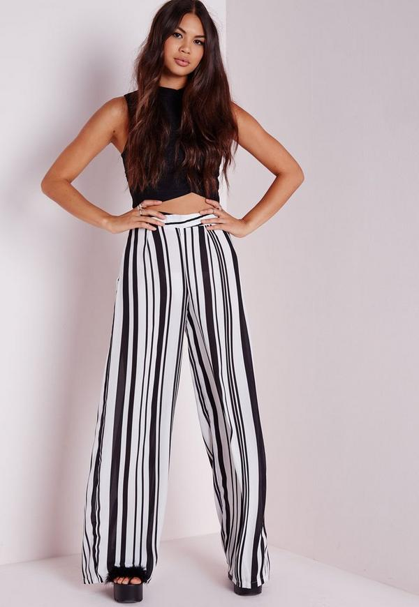 pantalon large ray noir et blanc tall missguided. Black Bedroom Furniture Sets. Home Design Ideas