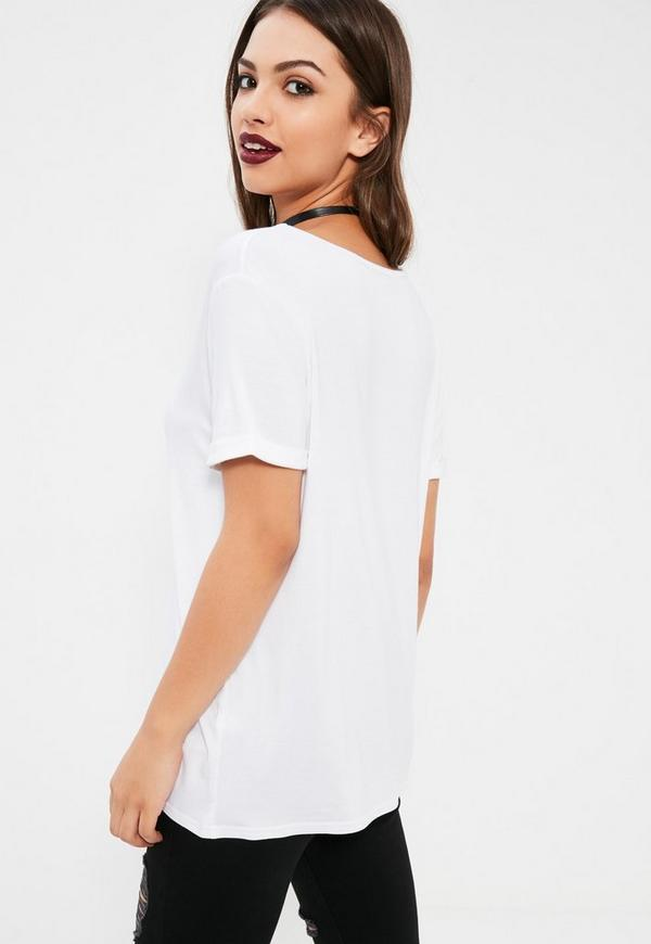 Tall boyfriend v neck t shirt white missguided for Plus size tall t shirts