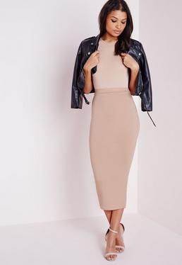 Tall Longline Jersey Midi Skirt Nude