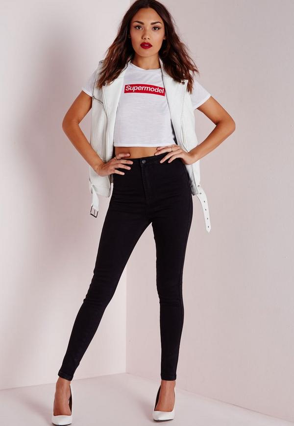 Tall Vice High Waisted Skinny Jeans Black