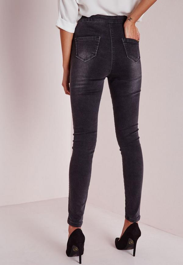 Tall Highwaisted Super Stretch Skinny Jeans Charcoal Grey| Missguided