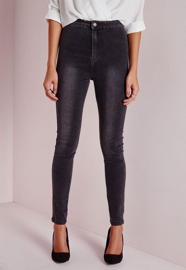 Tall Highwaisted Super Stretch Skinny Jeans Charcoal Grey | Missguided