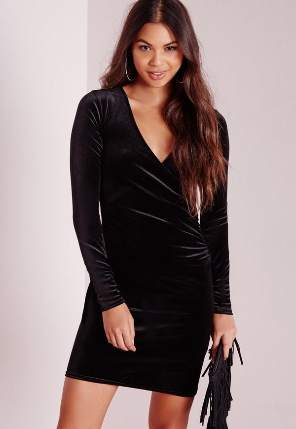 Tall Exclusive Wrap Over Bodycon Dress Black