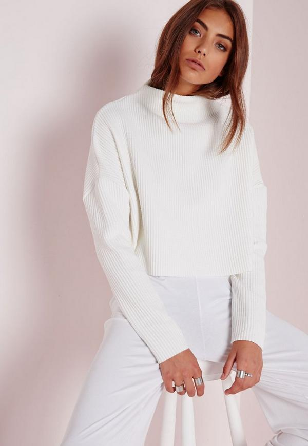 Tall Ribbed High Neck Jumper White