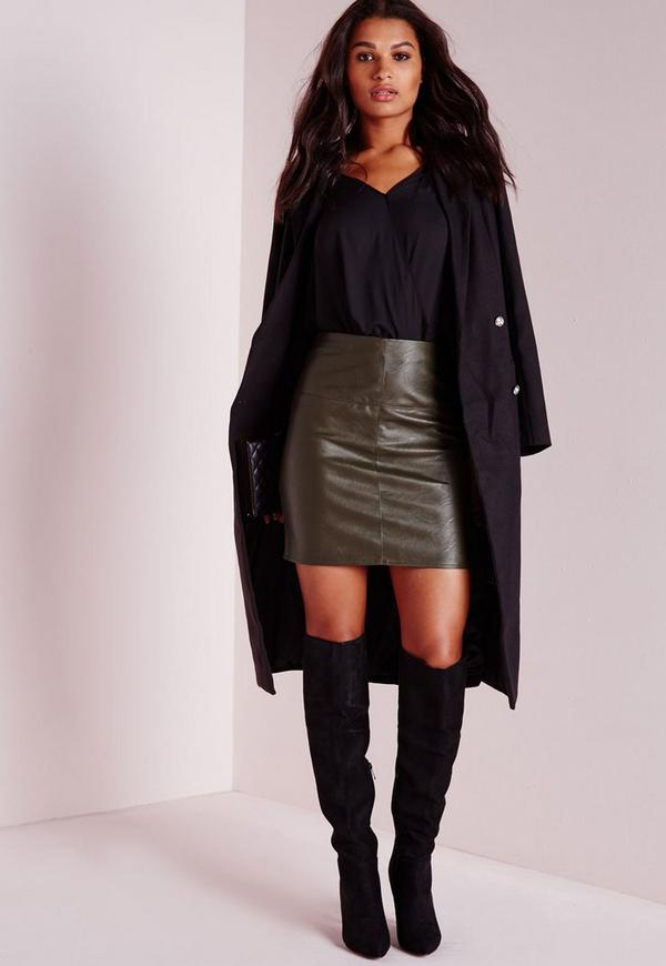 faux leather mini skirt khaki missguided