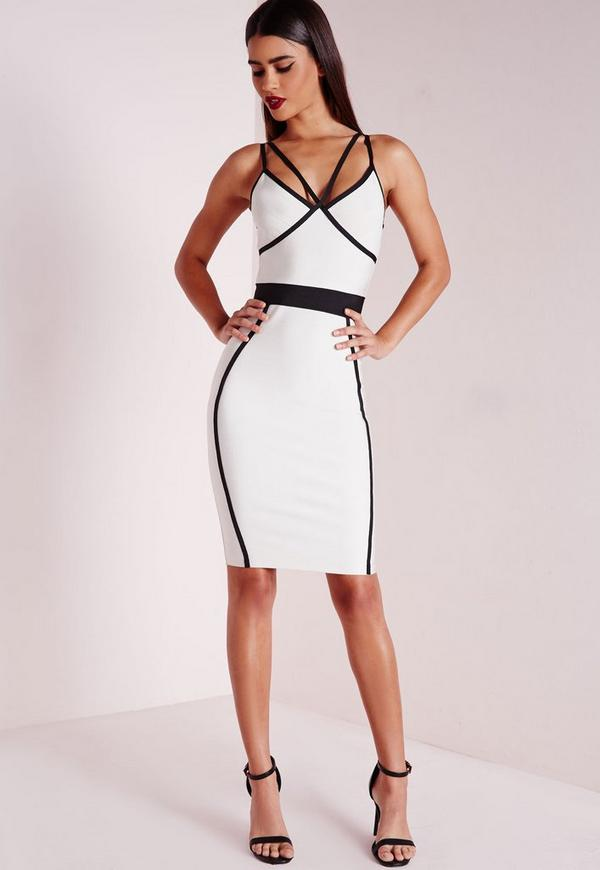 Tall Premium Contrast Piping Binding Bodycon Bandage Dress Mono
