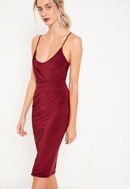 Burgundy Tall Slinky Strappy Wrap Midi Dress