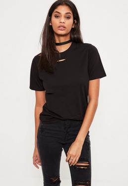 Tall Black Ripped Boyfriend T-Shirt