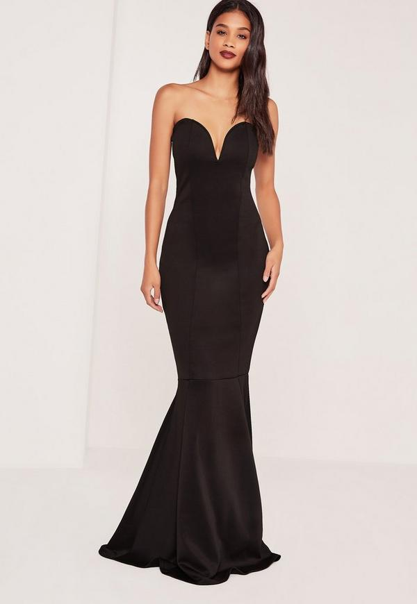 Tall Scuba Bandeau Fishtail Maxi Dress Black