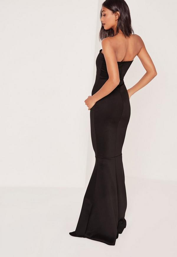 Tall Scuba Bandeau Fishtail Maxi Dress Black | Missguided