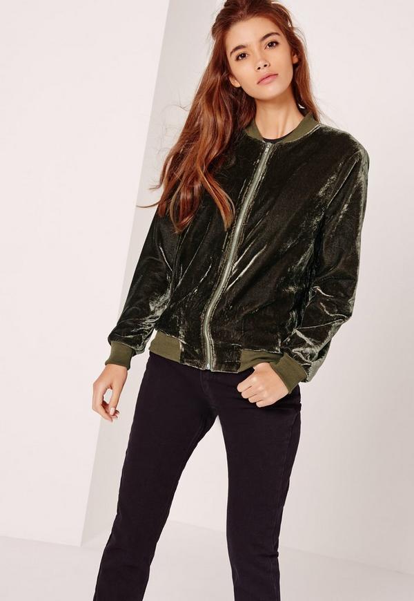 Tall Velvet Bomber Jacket Khaki
